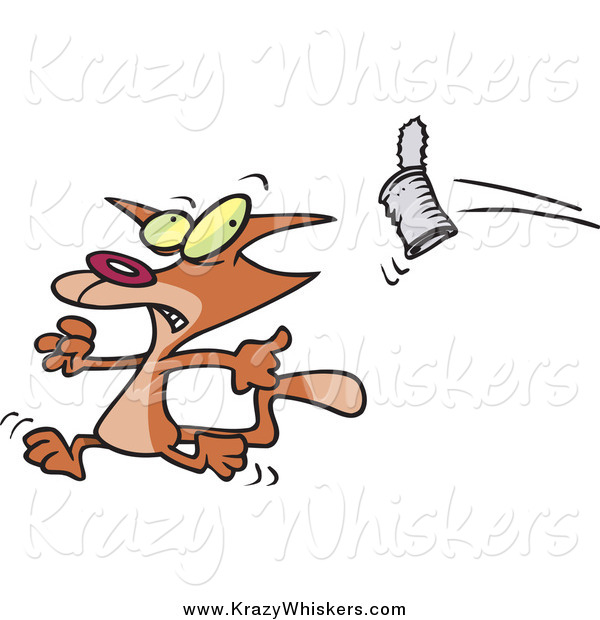 Critter Clipart of a Cartoon Can Flying at a Brown Cat