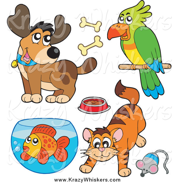 Critter Clipart of a Cartoon Happy Dog, Parrot, Cat and Fish