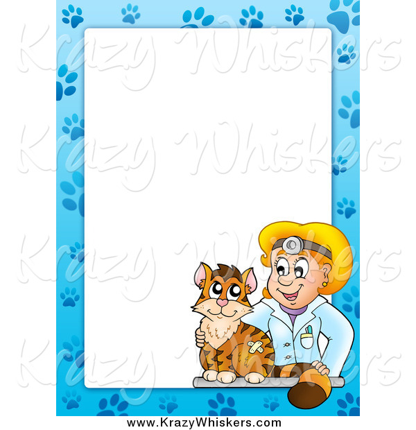 Critter Clipart of a Cat and Blond White Female Veterinarian Border Around White Space