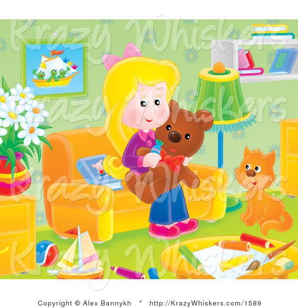 Critter Clipart of a Cat and Girl with a Teddy Bear in a Toy Room - Royalty Free