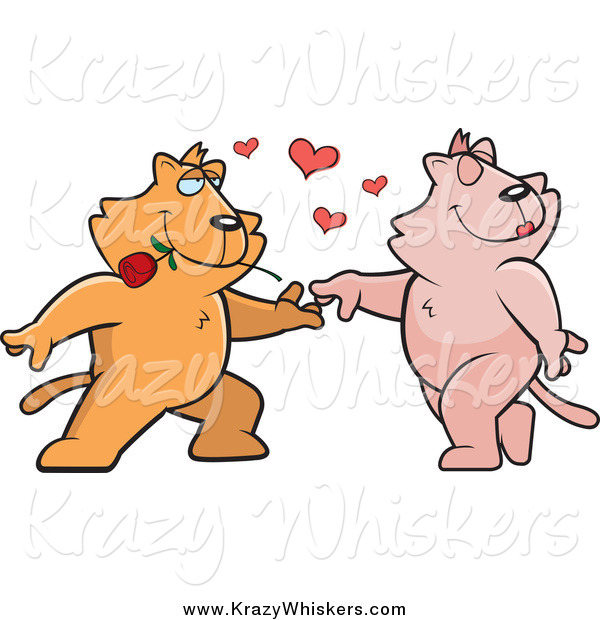 Critter Clipart of a Cat Couple Dancing with Hearts and a Rose