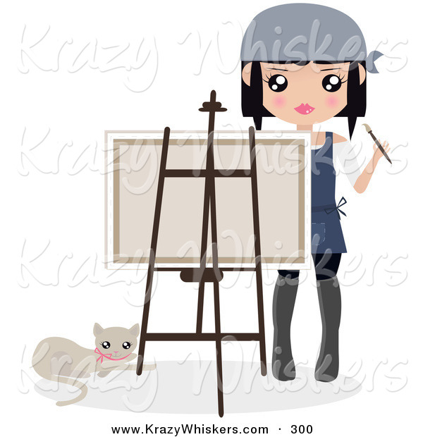 Critter Clipart of a Cat Laying by a Female Artist Holding a Paintbrush and Looking over a Canvas on an Easel
