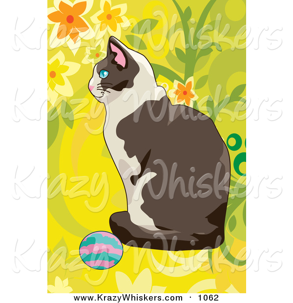 Critter Clipart of a Cat Playing with a Ball over Yellow