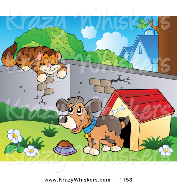 Critter Clipart of a Cat Sleeping on a Wall over a Dog by a House