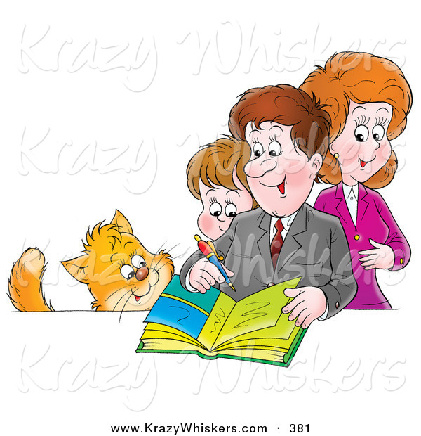 Critter Clipart of a Cat Watching a Family Writing in a Photo Album