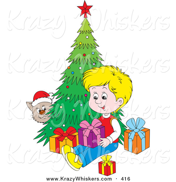 Critter Clipart of a Cat Wearing a Santa Hat, Peeking Around a Christmas Tree and Watching a Blond Boy Open Presents