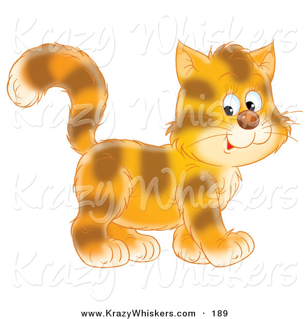 Critter Clipart of a Cheerful and Cute Tiger Striped Kitty Cat in Profile, Walking to the Right
