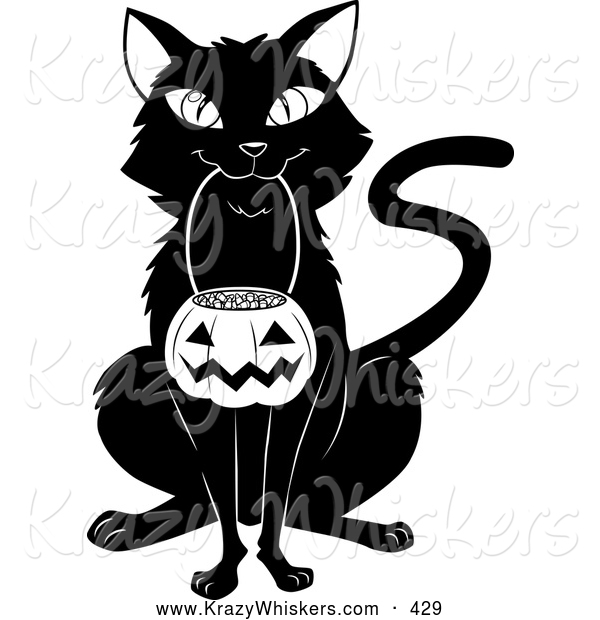 Critter Clipart of a Cheerful Black Cat Sitting and Carrying a Pumpkin Basket Full of Candy Corn in Its Mouth on Halloween
