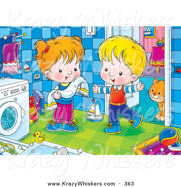 Critter Clipart of a Cheerful Boy and Girl Standing by a Washing Machine, a Cat Standing Behind a Doorway