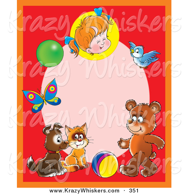 Critter Clipart of a Cheerful Red Frame Around a Pink Oval with a Little Girl, Balloon, Butterfly, Bird, Bear, Ball, Cat and Puppy