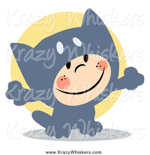 Critter Clipart of a Child Smiling and Dressed in a Gray Cat Halloween Costume