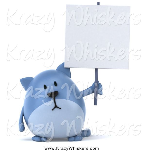 Critter Clipart of a Chubby Blue Cat Holding a Blank Sign