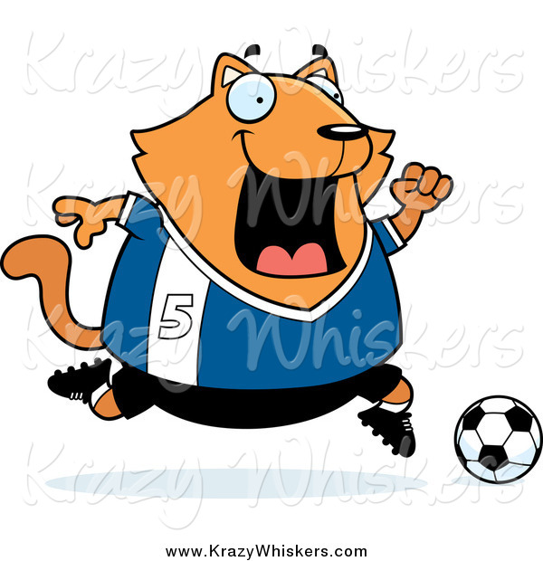 Critter Clipart of a Chubby Ginger Cat Playing Soccer