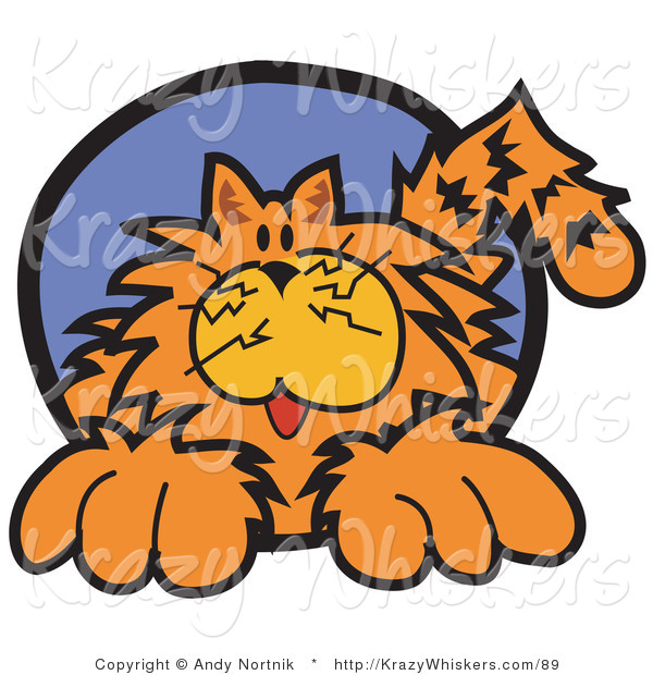 Critter Clipart of a Chubby Happy Orange Cat in a Blue Circle