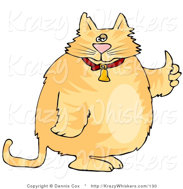 Critter Clipart of a Chubby Orange Tabby in a Bell Collar Giving the Thumbs up