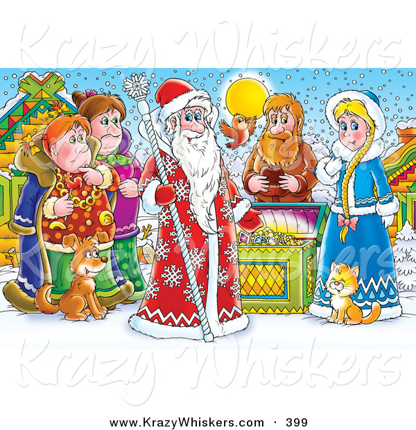 Critter Clipart of a Colorful Painting of a Group of People, Bird, Cat and Dog Around a Treasure Chest and a King of Winter, or Santa Clause