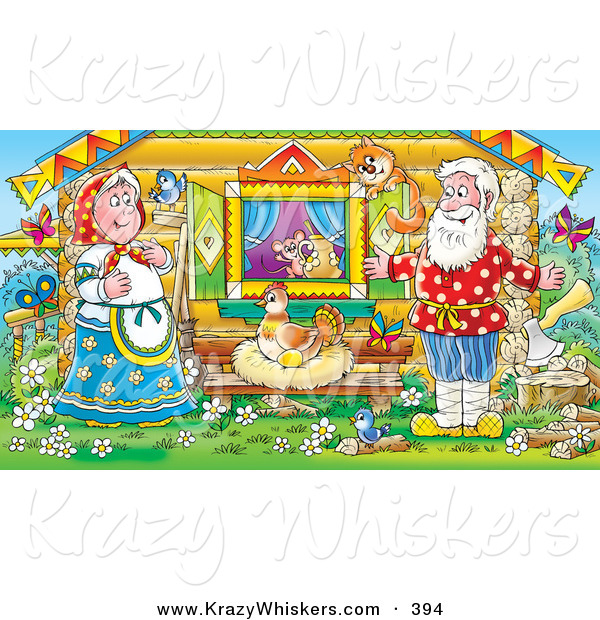 Critter Clipart of a Colorful Painting of a Happy Man, Woman, Mouse, Bird and Cat Watching a Hen Laying Golden Eggs Outside a Log Cabin