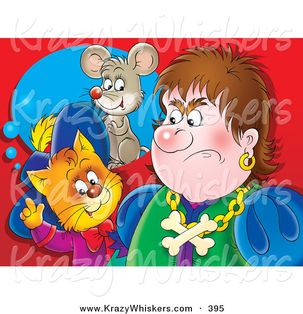 Critter Clipart of a Colorful Painting of a Puss in Boots, the Cat, Standing Behind an Angry Man, Thinking of a Mouse