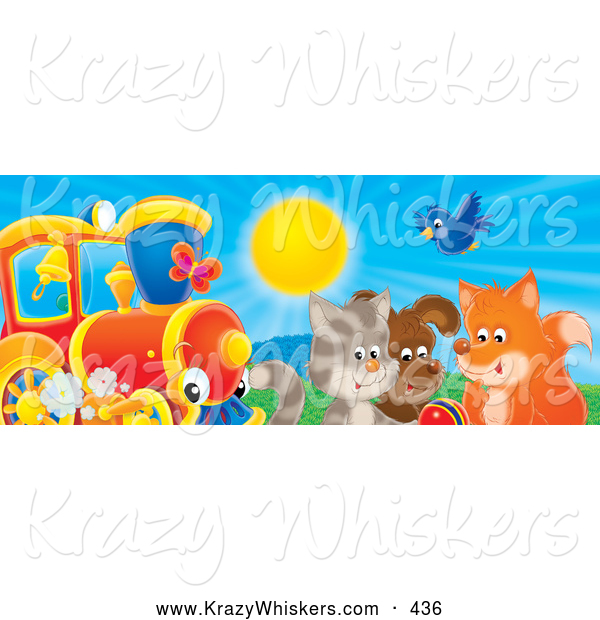 Critter Clipart of a Colorful Picture of a Bluebird, Fox, Dog and Cat Playing with a Ball near a Train on a Sunny Day