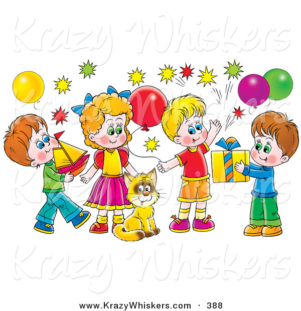 Critter Clipart of a Colorful Picture of a Cat Surrounded by Children and Balloons at a Birthday Party