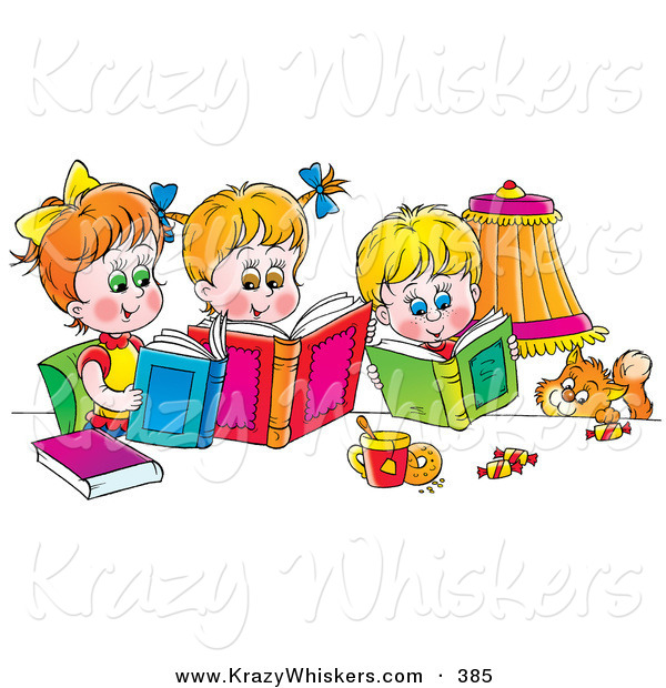 Critter Clipart of a Colorful Picture of a Cat Watching a Boy and His Two Sisters Read Books