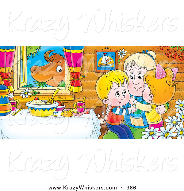 Critter Clipart of a Colorful Picture of Happy Grandchildren Hugging Grandma at a Table While a Cow Chews on Grass in the Window