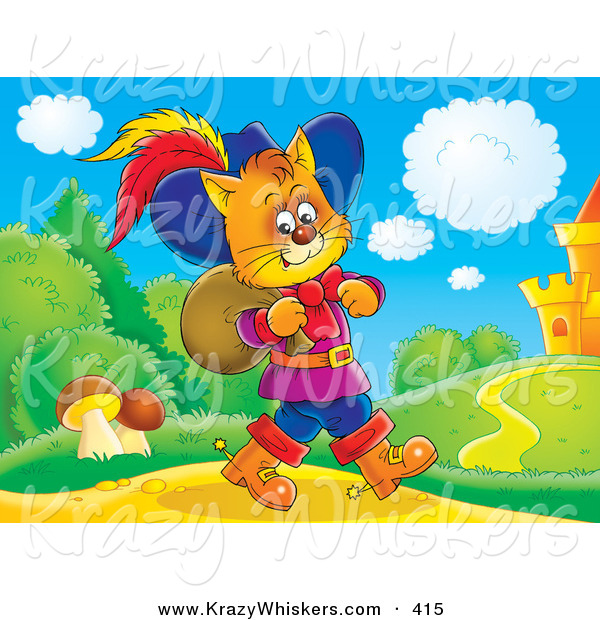 Critter Clipart of a Colorful Picture of Puss in Boots, the Cat, Strolling near a Castle with a Sack over His Shoulder