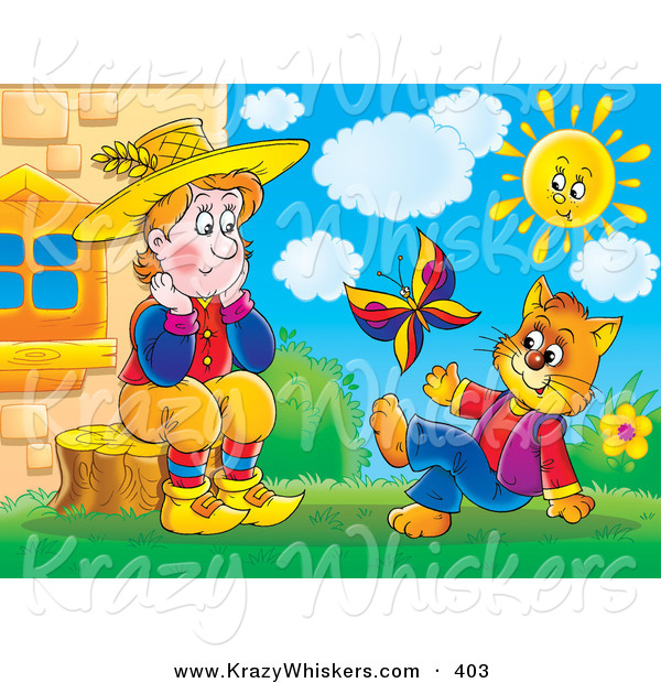 Critter Clipart of a Colorful Sad Man Sitting on a Stump and Talking to a Cat in Clothes, Watching a Butterfly on a Sunny Day