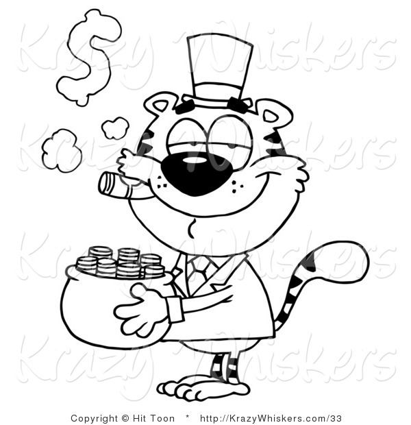 Critter Clipart of a Coloring Page of a Tiger Carrying a Pot of Gold and Smoking a Cigar