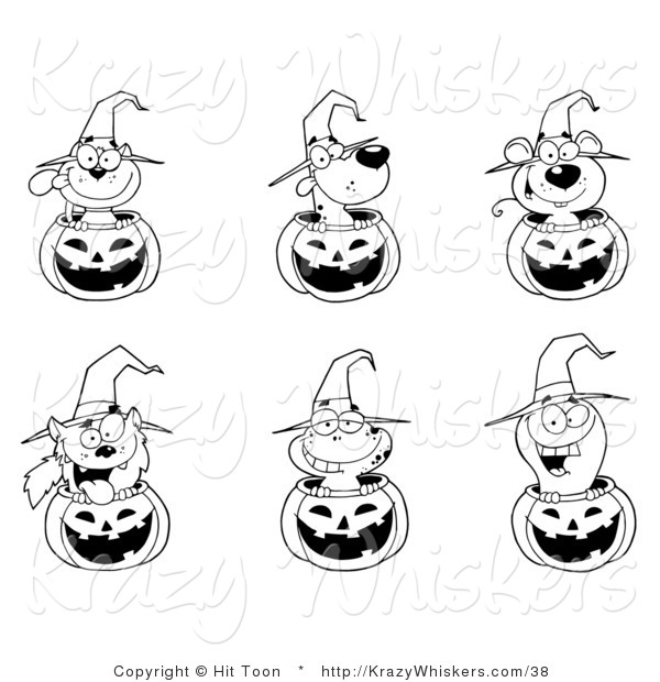 Critter Clipart of a Coloring Page of Animals in Halloween Pumpkins