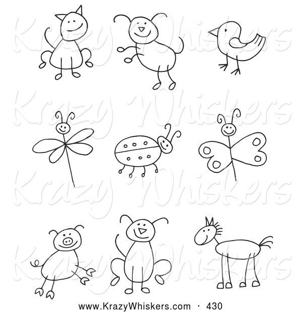 Critter Clipart of a Coloring Page Stick Figure Cat, Dog, Bird, Dragonfly, Ladybug, Butterfly, Pig, Pupy and Horse