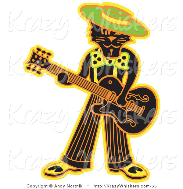 Critter Clipart of a Cool Black Cat Playing a Guitar While Wearing a Hat