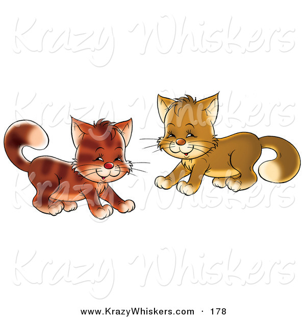 Critter Clipart of a Couple of Playful Brown Kitty Cats Being Frisky