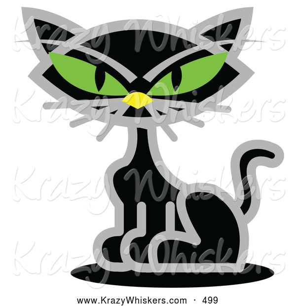 Critter Clipart of a Creepy Black Cat with Piercing Green Eyes