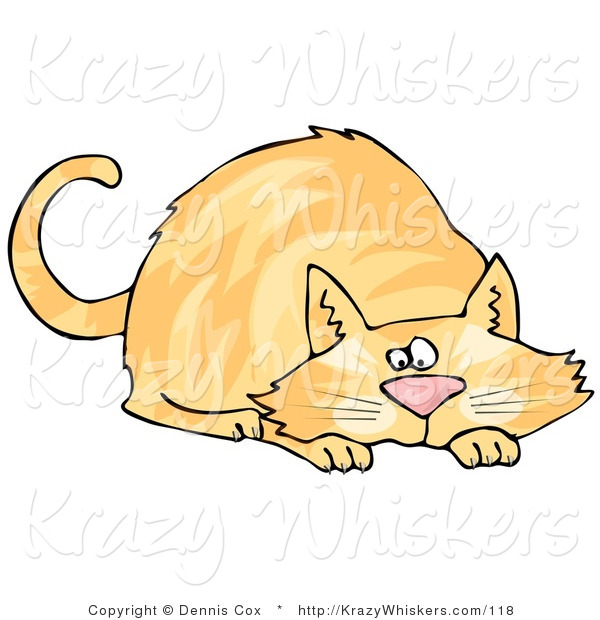 Critter Clipart of a Crouching Orange Cat While Preparing to Pounce on Prey