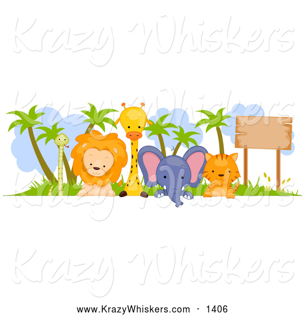 Critter Clipart of a Cute Animal Border