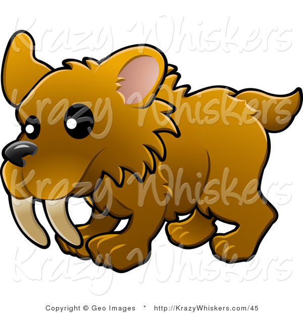 Critter Clipart of a Cute Baby Brown Saber Tooth Tiger with Big Teeth
