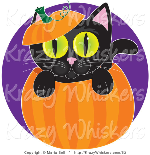 Critter Clipart of a Cute Black Kitten with Big Green Eyes, Peeping out from Inside a Halloween Pumpkin, with the Top on His Head