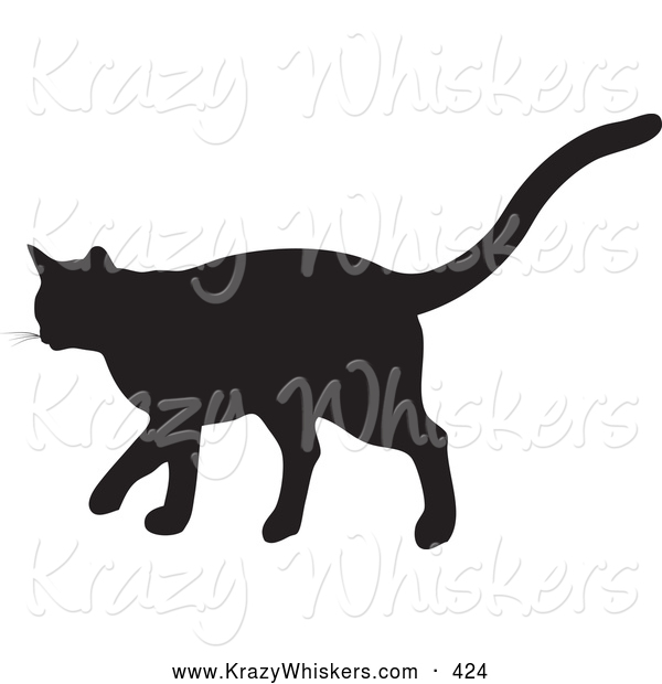 Critter Clipart of a Cute Black Silhouetted Feline Walking in Profile