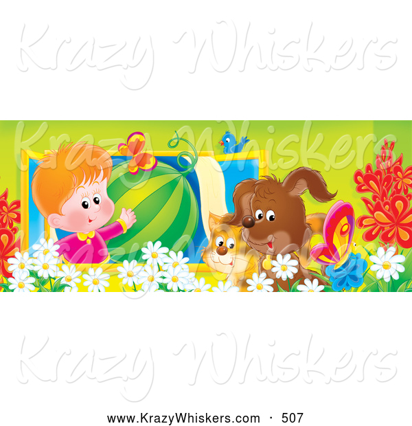 Critter Clipart of a Cute Boy in a Window, Showing off a Watermelon to a Bird, Cat and Dog