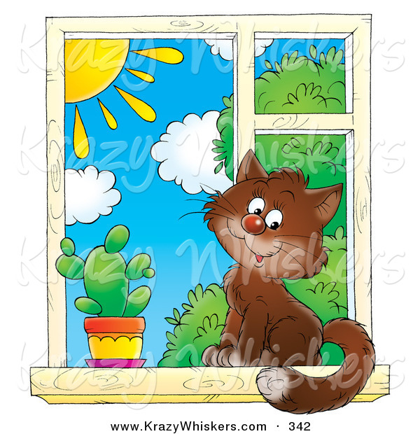 Critter Clipart of a Cute Brown House Cat Sitting by a Spiky Cactus in a Window, Looking Outside on a Sunny Day