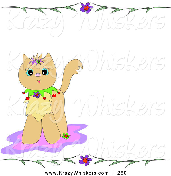 Critter Clipart of a Cute Brown Kitten on a Pink Rug, with a Stationery Border of Flowers and LeavesCute Brown Kitten on a Pink Rug, with a Stationery Border of Flowers and Leaves