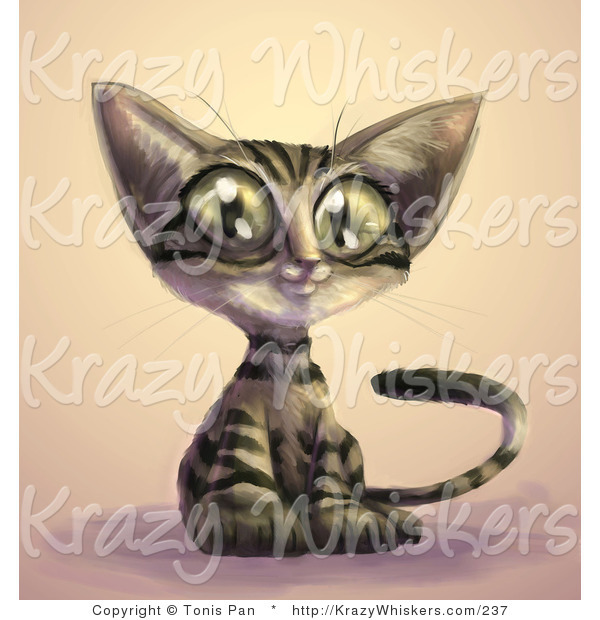 Critter Clipart of a Cute Brown Tabby Cat with Black Stripes and Large Green Eyes, Sitting with an Innocent Look on His Face