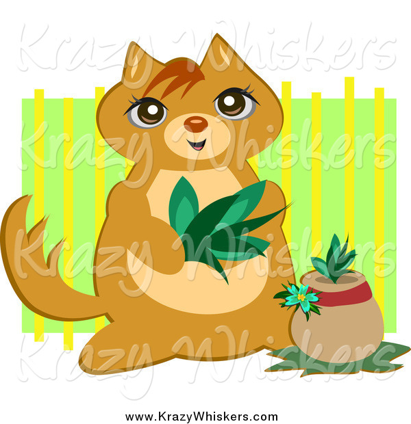 Critter Clipart of a Cute Cat Planting a Plant over Green