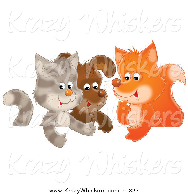 Critter Clipart of a Cute Cat, Puppy and Fox Chatting in a Group Together