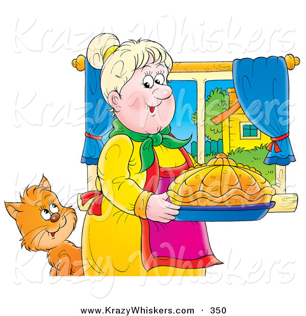 Critter Clipart of a Cute Cat Watching a Grandmother Carrying Fancy Bread in a Kitchen