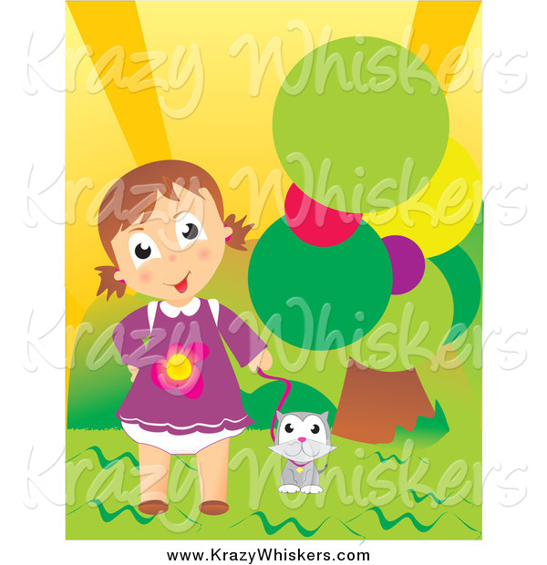 Critter Clipart of a Cute Caucasian Girl and Cat Outdoor by a Tree
