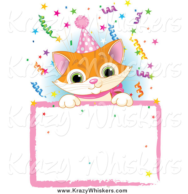 Critter Clipart of a Cute Ginger Kitten Wearing a Party Hat and Looking over a Blank Party Sign with Colorful Confetti