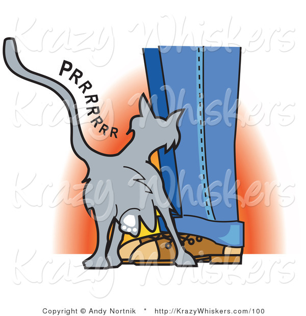 Critter Clipart of a Cute Gray Cat Purring and Rubbing up Against a Person's Legs