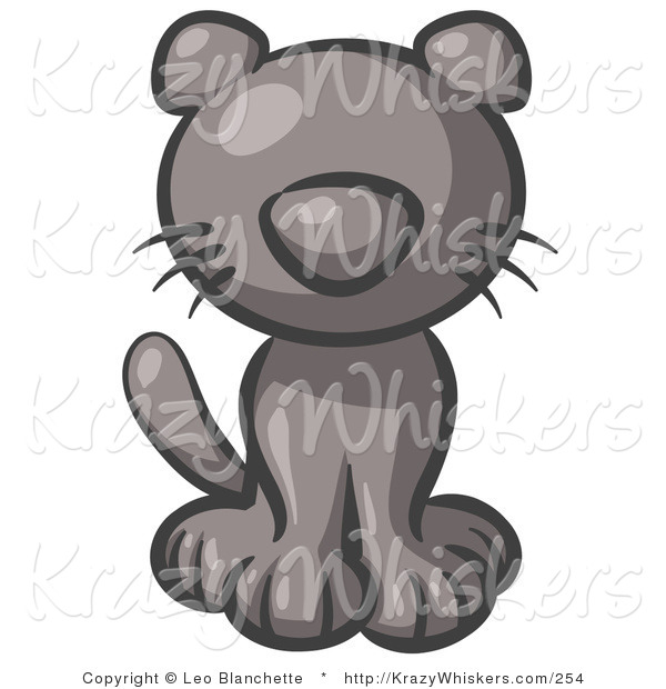 Critter Clipart of a Cute Gray Kitten Looking Curiously at the Viewer